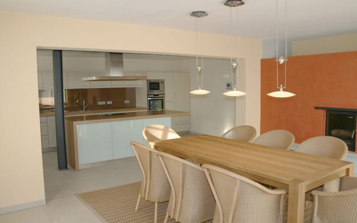 Innenarchitektur offene Küche: Farbkonzept und Einrichtung