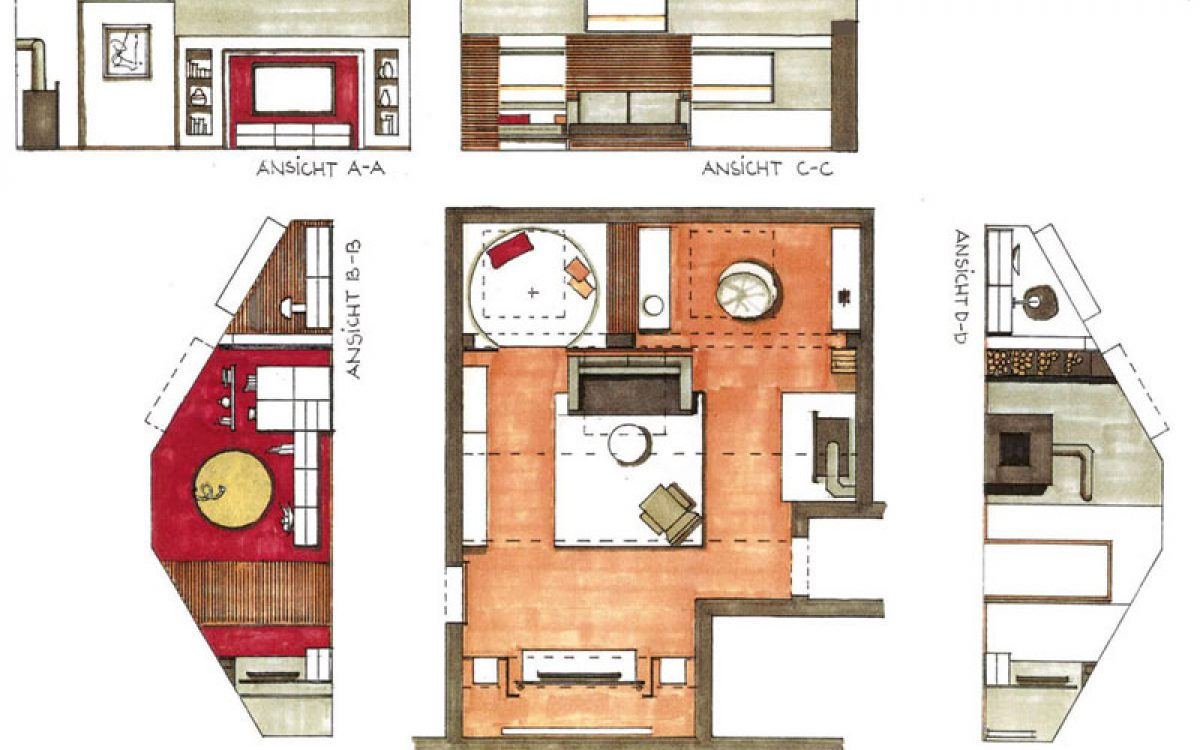Innenarchitektur Umbau Dachgeschoss: Planskizze Modernisierung