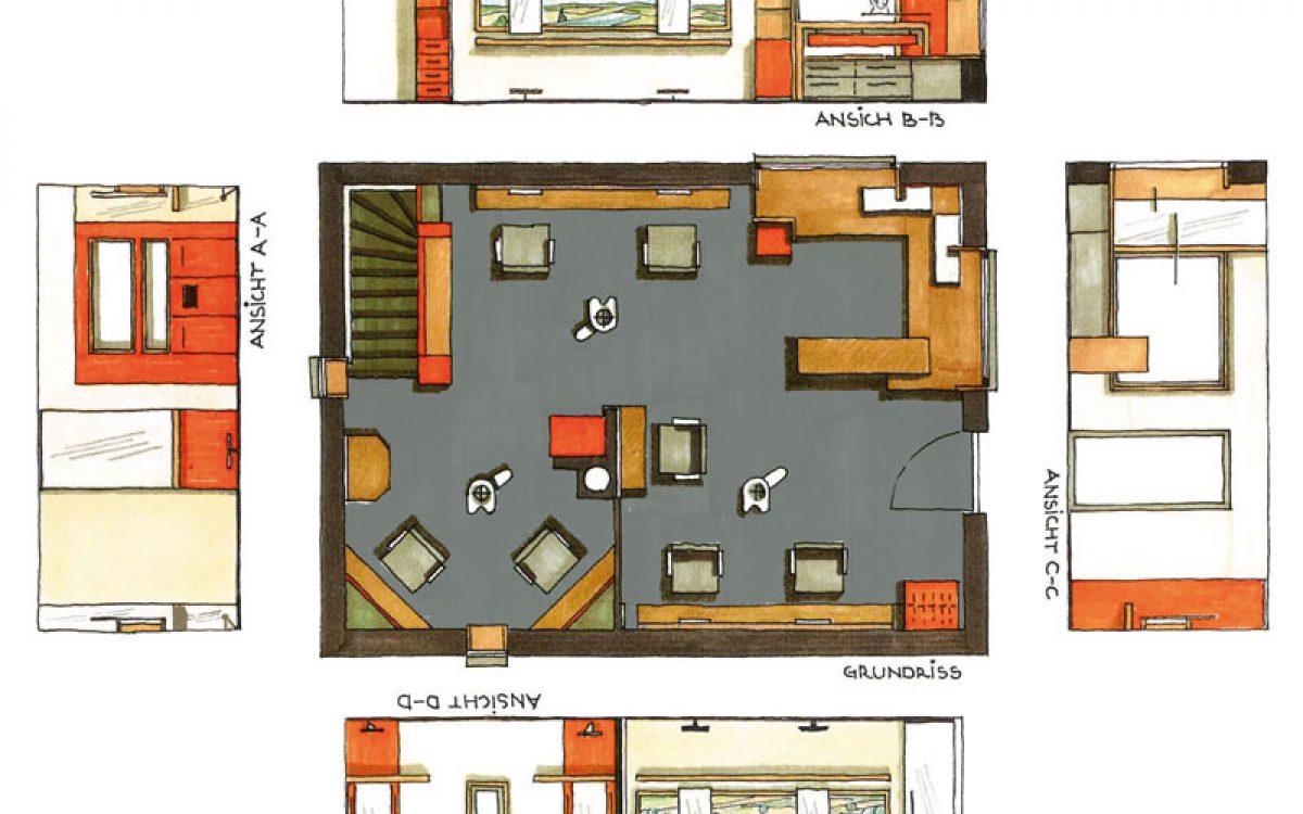 Innenarchitektur Sanierung: Friseursalon Planskizze
