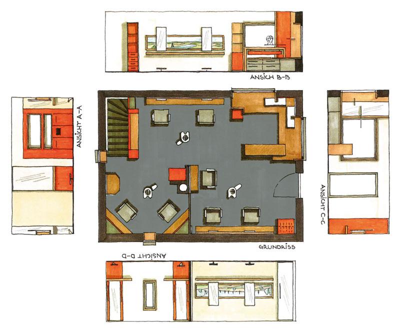 Innenarchitektur Sanierung Friseursalon Planskizze