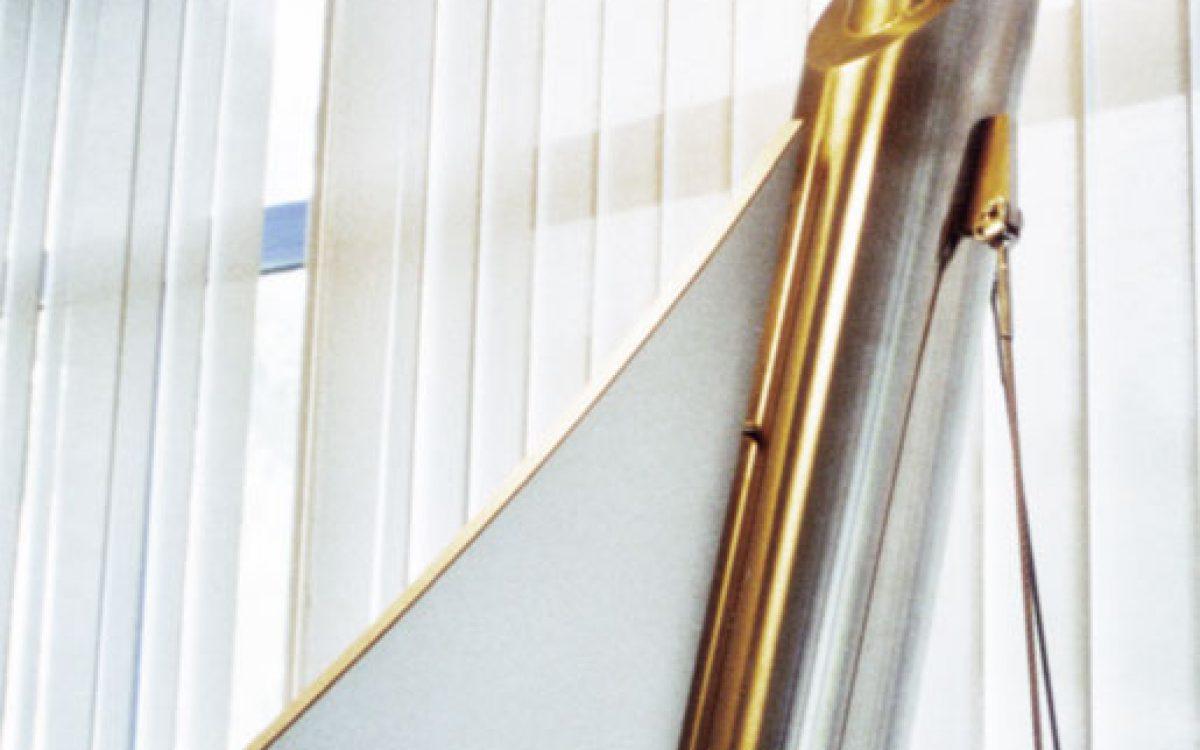Design Empfangstresen: Detail Stahlrohr