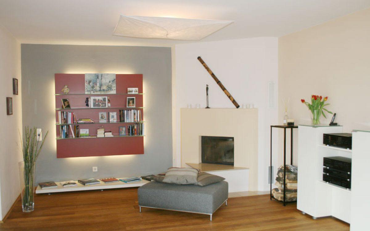wohnzimmer mit wandregal neugestaltung und einrichtung. Black Bedroom Furniture Sets. Home Design Ideas