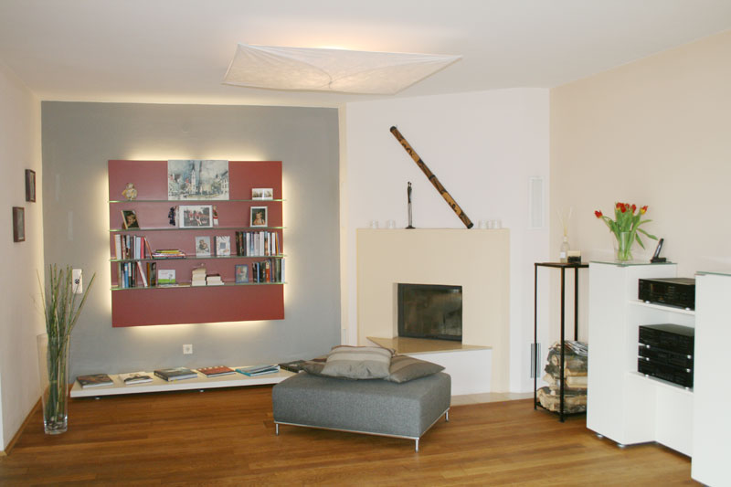 Wohnzimmer mit wandregal neugestaltung und einrichtung for Wohnzimmer einrichtung